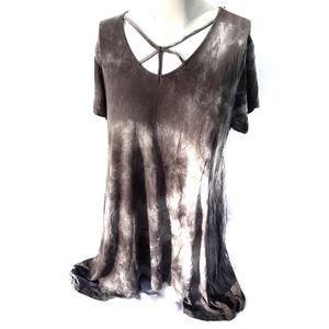 rue+ | Gray Tie Dye Shirt Dress Tunic plus size 2X